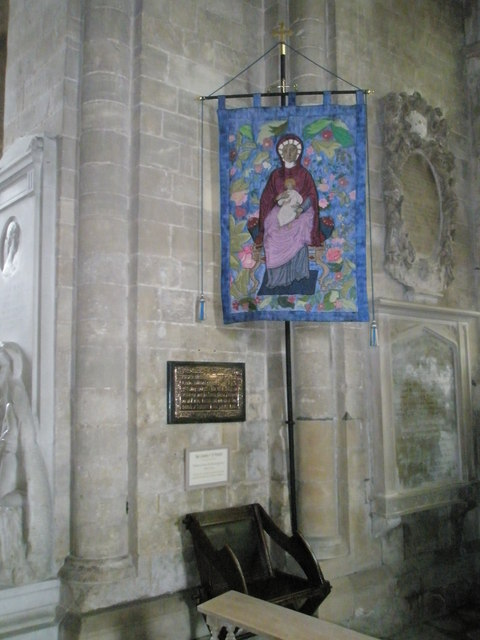 Banner depicting Mary and Jesus within the chancel at Romsey Abbey