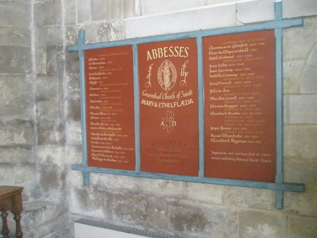 Board recording the Abbesses within  Romsey Abbey