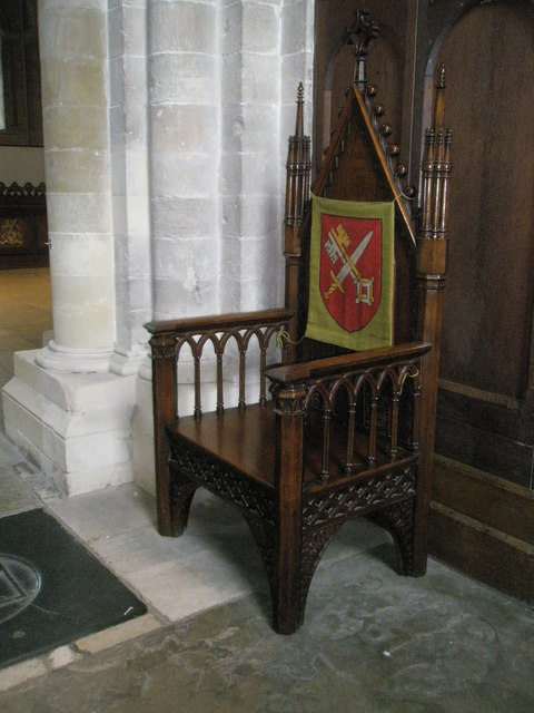 Splendid chair in the chancel at Romsey Abbey