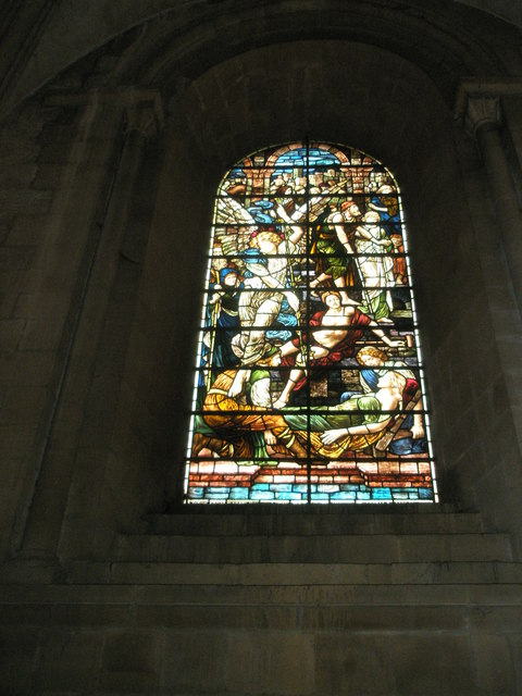 Stained glass window on the north wall at Romsey Abbey