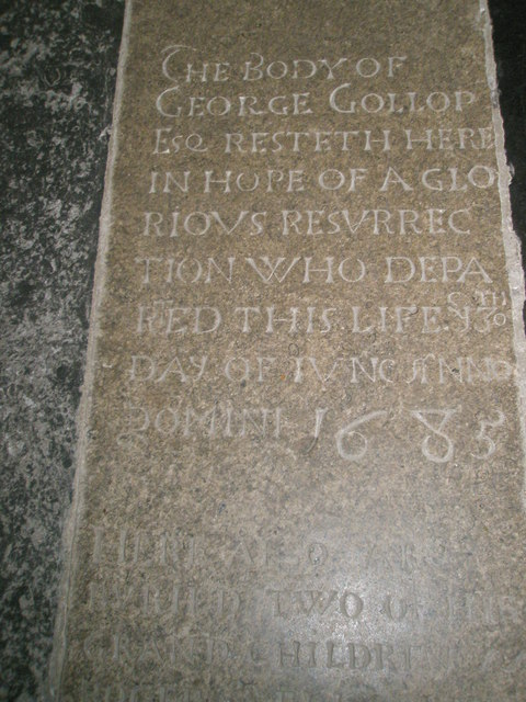 Inscription on an ancient floorstone at Romsey Abbey