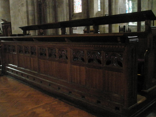 Choir stalls within Romsey Abbey