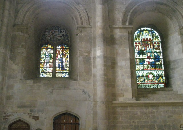 Stained glass windows within the north transept at Romsey Abbey