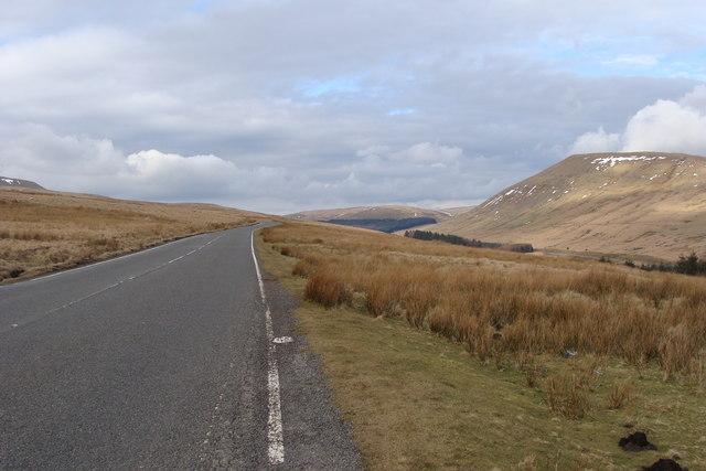 The A4059 towards Brecon
