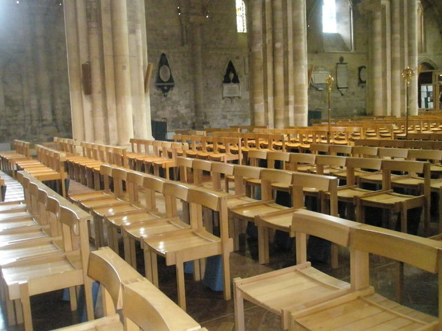 Seats in the nave at Romsey Abbey