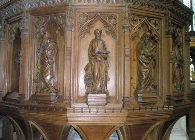 Carvings on the pulpit at Romsey Abbey