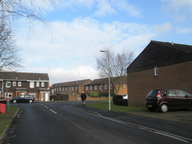 Looking up Latham Road towards Mercer Way
