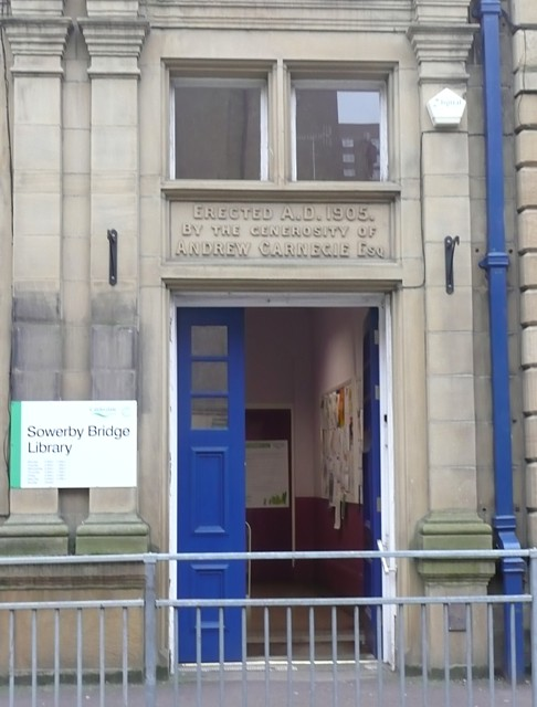 Doorway of the library, Sowerby Bridge