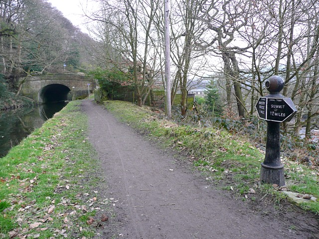 The first mile post on the Rochdale Canal, Sowerby Bridge