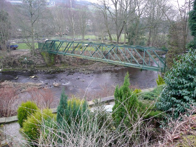Pipe bridge over the River Calder, Luddenden Foot