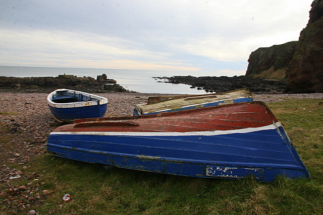 Disused fishing boats, Auchmithie