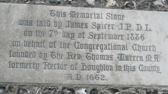 Memorial stone outside Romsey URC
