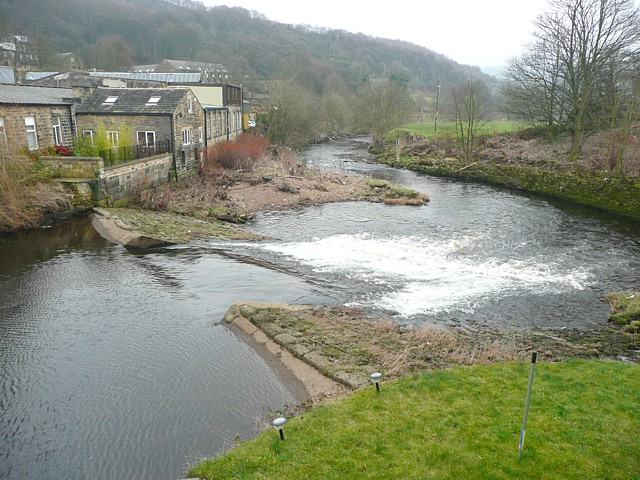 Weir on the River Calder at Brearley, Mytholmroyd
