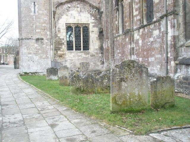 Gravestones  adjacent to Romsey Abbey