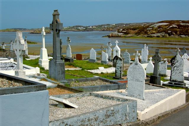 Belcruit - Cemetery and Atlantic Ocean bay