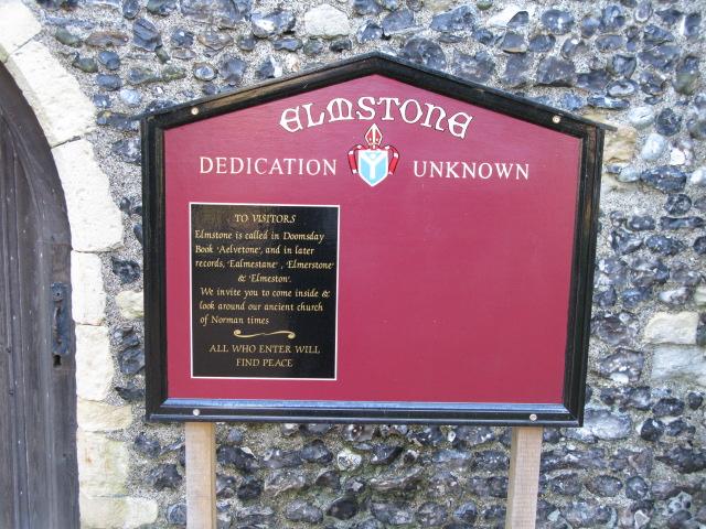 Elmstone church board, unknown dedication