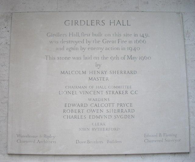 Stone on side of Girdler's Hall Basinghall Avenue
