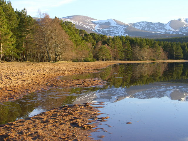 Loch Morlich Beach and Cairngorm Mountains