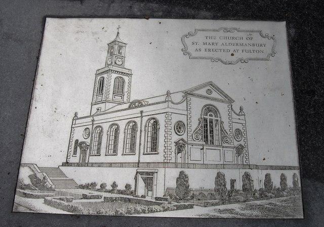 Plaque at St Mary Aldermanbury