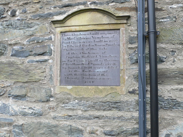 Plaque on the almshouses, Ysbyty Ifan