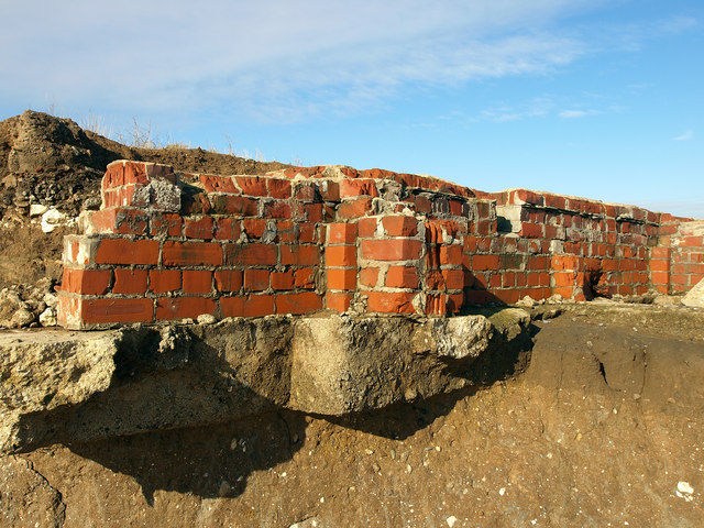 Building remains on Kilnsea Beach