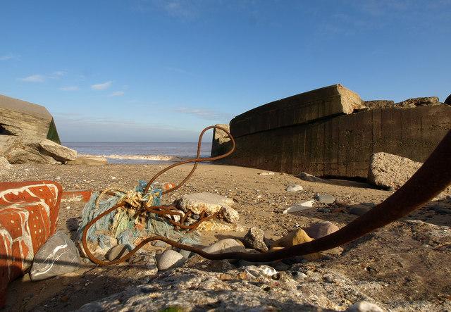 Godwin Battery Remains on Kilnsea Beach