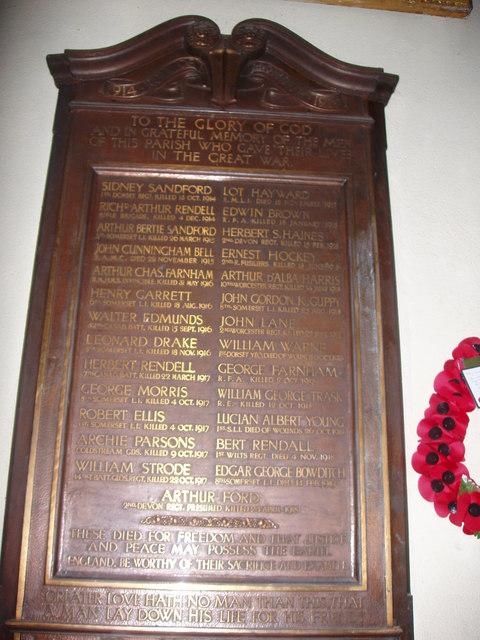 St. Martin Of Tours, West Coker, 1st World War Memorial
