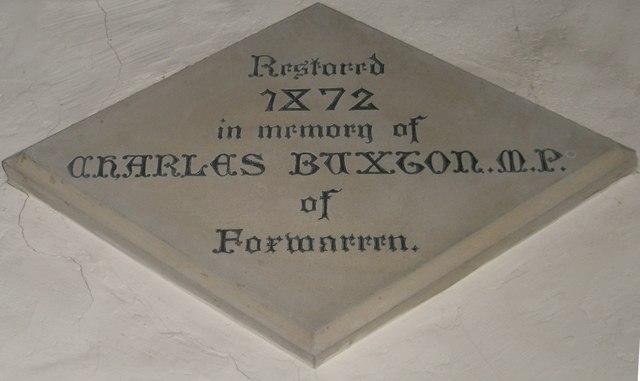 Commemorative stone above the vestry door at Wisley Parish Church