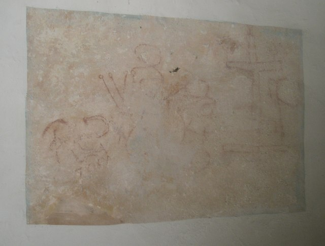Mediaeval wall painting in the nave at Wisley Parish Church
