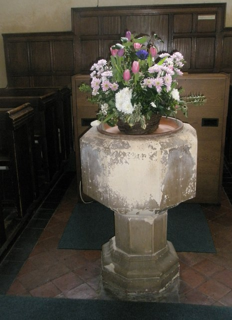 The font within Wisley Parish Church