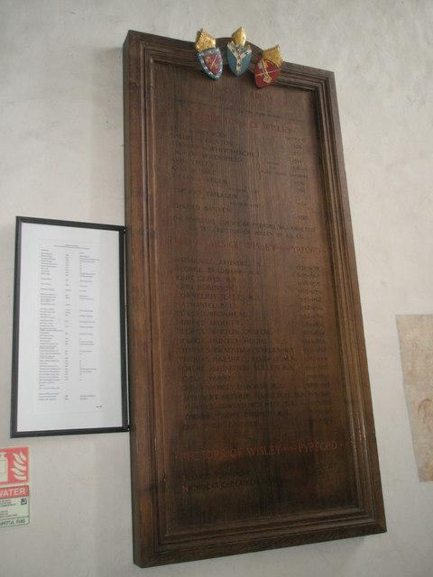 The incumbency board at Wisley Parish Church