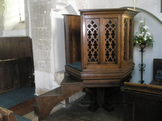 Side view of the pulpit at Wisley Parish Church