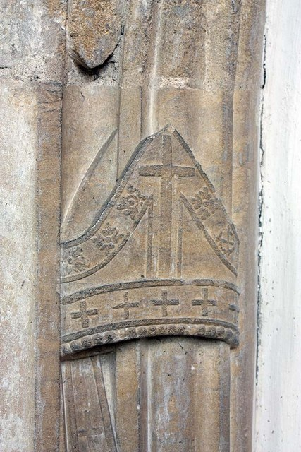 St Mary, Gressenhall, Norfolk - Doorway detail of a mitre