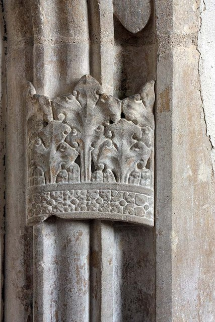 St Mary, Gressenhall, Norfolk - Doorway detail of a crown