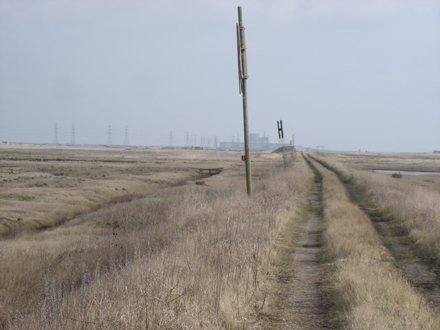 Boundary of Lydd firing ranges - Dungeness nuclear power station in the distance
