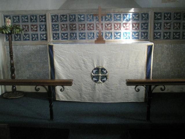 Simple altar within Wisley Parish Church