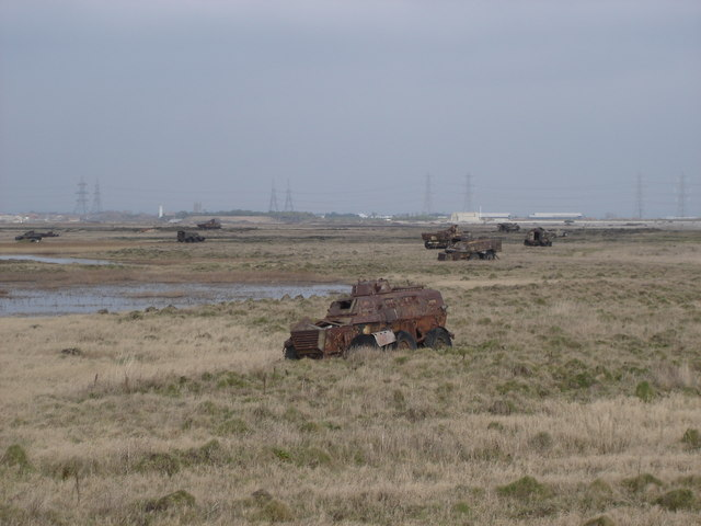 Rusty old armoured vehicles on Lydd firing range