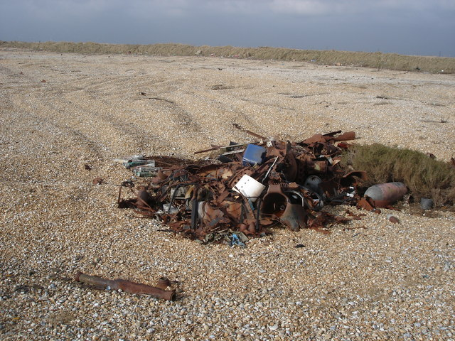 Military junk on the seaward side of Lydd firing ranges