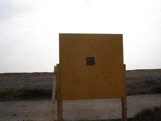 Lydd firing range - target with bullet holes