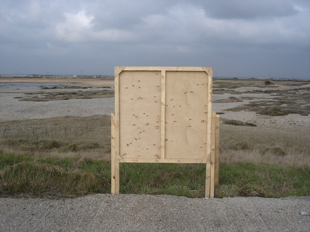 Lydd firing range - back of target (with bullet holes)