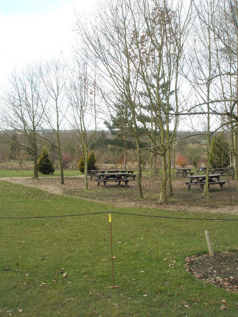 Unoccupied picnic area at RHS Wisley