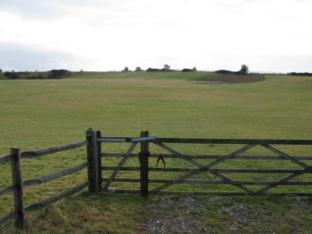 Gate entrance and farmland to the SE of Beacon Lane