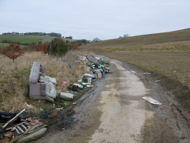 Fly tipping on a farm track just off the Alkham Valley Road