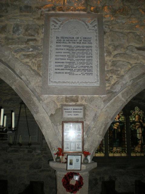 War Memorial, All Angels Church, Hubberholme