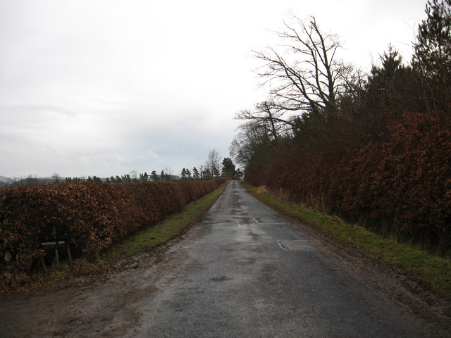 Country road passing Newbigging Bush Farm