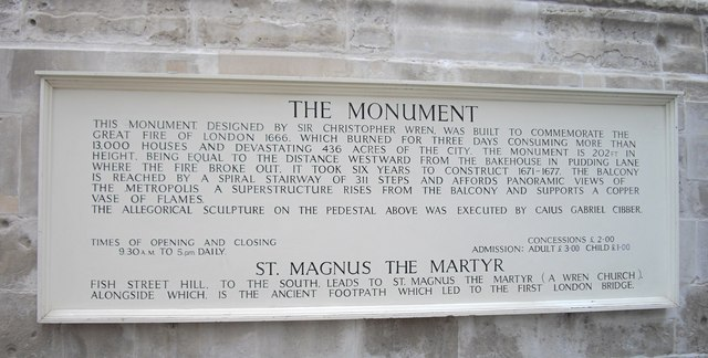 Information Board at The Monument