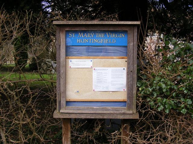 St.Mary the Virgin Church, Huntingfield Notice Board