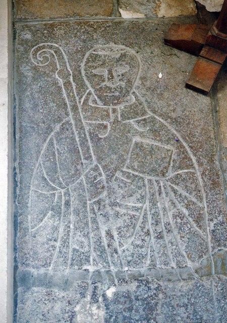 St Mary, Carisbrooke - Incised slab