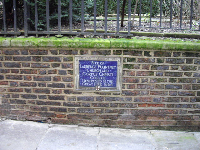Plaque  'Site of Laurence Pountney Church'