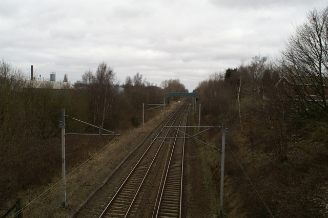 West Coast Main Line, looking North from Spencer Road, Whitley